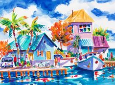 Colorful Wall Art, Colorful Paintings, Tropical Paintings, Beautiful Paintings, Key West, Chicken Painting, Flamingo Art, West Art, Boat Painting