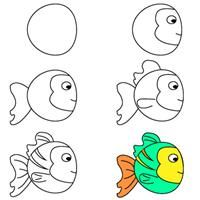 kids learn how to draw a fish | crafts & creativity. Basteln & Kreativität . bricolage & creativité | @ Bastel dich blue |