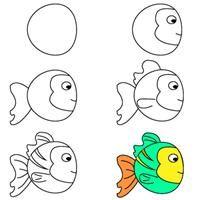kids learn how to draw a fish   crafts & creativity. Basteln & Kreativität . bricolage & creativité   @ Bastel dich blue  
