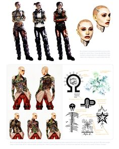 """Jack tattoo concepts from """"The Art of the Mass Effect Universe"""" art book."""