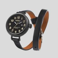 Shinola 'The Birdy' Black Watch Black Leather Strap, 34mm