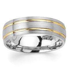 6.5mm+Double+Channel+14K+Two+Tone+Gold+Men's+Wedding+Band
