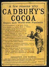 1886 CADBURY'S COCOA DRINKING CHOCOLATE Old Vintage Ad Victorian Book Backcover