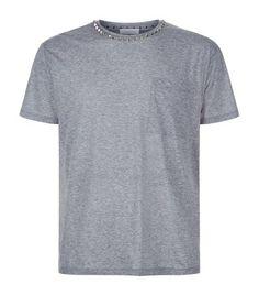 VALENTINO Rockstud Collar T-Shirt. #valentino #cloth #