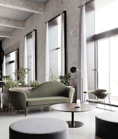 """ GRETA MAGNUSSON-GROSSMAN, the Cobra floor lamp, 1950. Originally manufactured by Bergboms Ab, Sweden. Re-production by Gubi, Denmark. Interior from the Amass Restaurant, Copenhagen. / Archiexpo """