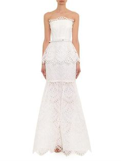 Oscar De La Renta Strapless broderie-anglaise gown