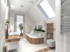 Projekt domu OCHOJEC, DM-6170, pow. uż. 177.50 m2 - Projekty domów Biuro Architektoniczne KB Projekt New Homes, Bathroom Plans, Attic Bedroom Designs, Dresser Sink Bathroom, House, Home, Beautiful Bathrooms, Bathroom Design Small, Bedroom Design