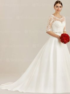 Unique wedding dress with elbow length sleeves is elegant enough. Perfect for all kinds of wedding.