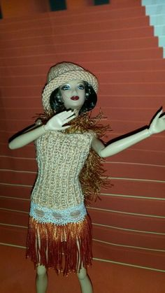Hand knitted Barbie outfit