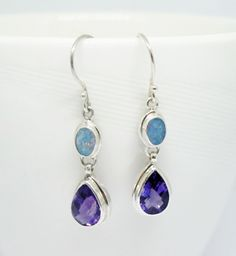 handmade 925 sterling silver earrings with natural amethyst and genuine doublet opal, opal earrings with stone, amethyst earrings by mabe925, $55.00 USD
