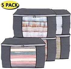 Yopih Clothes Storage Bags with Zips Large Duvet Storage Bag King Size Underbed Storage Bags with Clear Windows Clothing Storage Bags for Quilt Bedding Comforters Blankets Sweaters Underbed Storage Bags, Diy Storage Boxes, Under Bed Storage, Bag Storage, Storage Spaces, Storage Ideas, Storage Bags For Clothes, Clothing Storage, Quilt Bedding