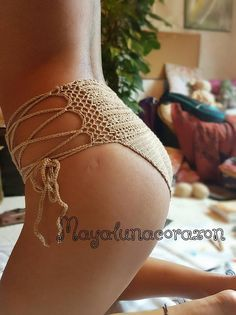 Crochet panties/Bikini bottom/High waisted underwear/Lace