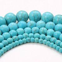 Mode nouvelle! Top qualité 2015 vente ronde naturelle vert Turquoise perles pour fabrication de bijoux 4 6 8 10 12 MM livraison gratuite gros