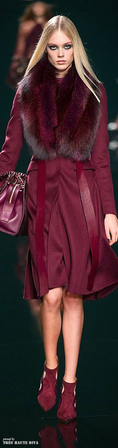 Elie Saab Fall/Winter 2014 - Paris Fashion Week. Burgundy; hot colour for this season