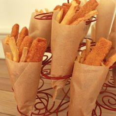 food served in parchment paper cones! kids would love it