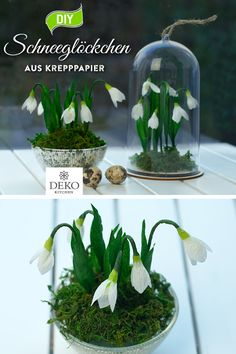 DIY: make pretty snowdrops out of crepe paper - Beautiful and deceptively real-looking snowdrops can be made from crepe paper. The small crepe pape - Pastel Pink Nails, Dark Pink Nails, Easy Bird, Clear Acrylic Nails, Paper Birds, Crepe Paper Flowers, Pretty Nail Art, Clay Tiles, Polymer Clay Charms