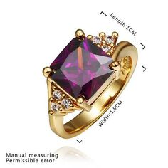 fashion jewelry 18k GP violetta square rings for women ringSMTPR405