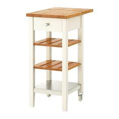 STENSTORP キッチンワゴン IKEA オーク無垢材製の可動棚2枚には溝があるので、ボトルを安定して置けます 安定性のある固定棚1段付き ワークトップはオーク無垢材製。耐久性に優れた天然素材で、必要に応じてやすりをかけ、表面処理を施すことができます