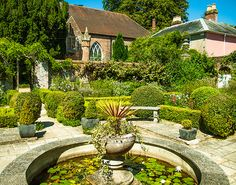 The Dutch Garden at Stansted House in West Sussex. In the background is the Chapel.
