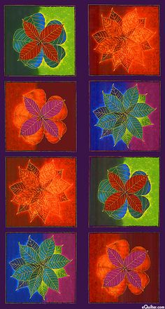 "Shades Of The Season 6 - Leaf Mandala - 24"" x 44"" PANEL - at eQuilter.com"