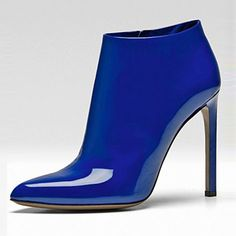 Shoespie Gorgeous Brillant Blue Shine Leather Fashion Booties
