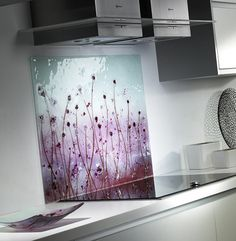 https://flic.kr/p/byQTQe | Pink and Purple Poppy Fused Glass Splashback