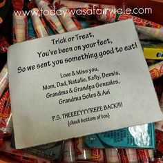 "LDS Missionary Halloween Care Package - cute saying: ""trick or treat, you've been on your feet, so we sent you something good to eat."""