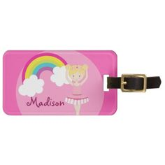 Cute Pink Ballet Girl Custom Luggage Tag - girl gifts special unique diy gift idea