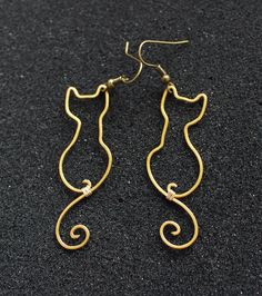 Cats, Wire Wrapped Brass or Copper Earrings by Hvitolg on Etsy