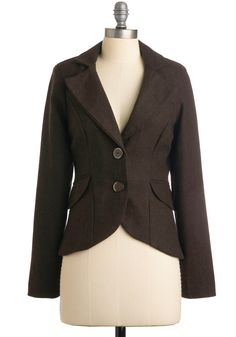 Modern Lit Lecturer Blazer - Brown, Solid, Long Sleeve, Work, Fall, 2, Short, Scholastic/Collegiate, Mod