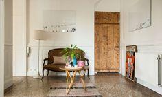 Salon sol en terrazzo Tapis Canapé en rotin Corridor guéridon Maison Marine Palayer Lyon
