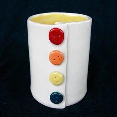 Button Yellow Ceramic Pottery Coffee Mug by madhatterceramics. $34.00, via Etsy.