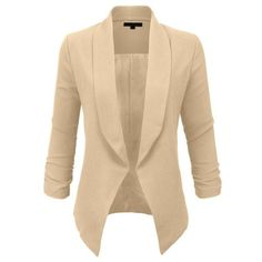 LE3NO Womens Textured 3/4 Sleeve Open Blazer Jacket (CLEARANCE) ❤ liked on Polyvore featuring outerwear, jackets, blazers, shoulder pad blazer, drape collar jacket, blazer jacket, 3/4 sleeve blazer and fleece-lined jackets