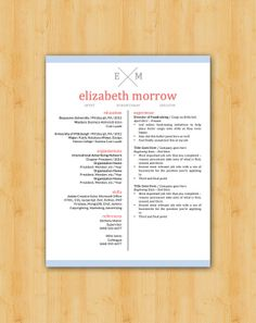 OUR NEWEST Easy to Edit Professional Resume Template - The Elizabeth by TheResumeCollege, $11.95