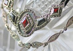 Sterling Silver Marcasite Necklace -- Vintage. $55.00, via Etsy #vjse2 #vintage #etsy #jewelry