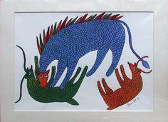 by Hiraman Urveti @ Krishna Leela, Aboriginal Art, Tribal Art, Lions, Folk Art, Modern Art, Elephant, Creatures, India