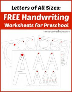 Free handwriting worksheets for preschool with letters of all sizes from The Measured Mom