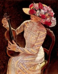 Victorian Lady Print portrait art fashion woman violin music hat flowers poster of painting