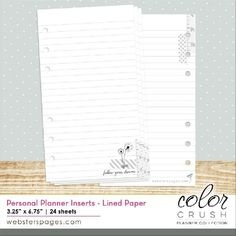 Color Crush Personal Planner Inserts: Lined Paper  Paperinauha.fi / 3,90e