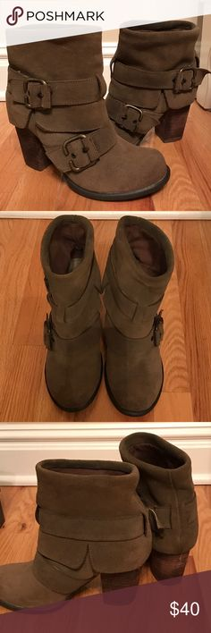 """Steve Madden """"Kendall"""" Boots Olive leather boots. Barely worn. Steve Madden Shoes Ankle Boots & Booties"""