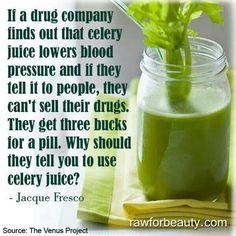 Celery juice lowers blood pressure