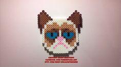 Grumpy Cat Perler Bead Sprite, 8 Bit Pixel Art, Kandi Design, Grumpy Cat Keychain