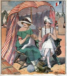 Guillaume, Albert (1873-1942) Women knitting on a beach in Normandy, France. Illustration from Le Rire, August 19, 1922.