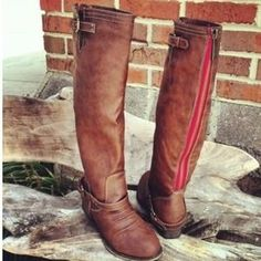 Shoes - NEW Red Zipper Brown Riding Boots❤️ I love my red zipper boots, but mine is on the side, not back, supercute