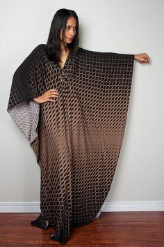Boho Maxi Dress Black and Brown Kaftan Dress : Funky by Nuichan
