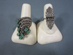 Vintage Pair Womens Sterling Silver Rings Large 8 Stone Jade Ring Art Deco Ring Free Ship