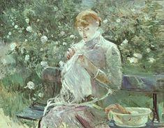 'Young Woman Sewing in a Garden', Berthe Morisot