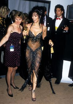 Cher in a sheer, embellished gown at the 1988 Oscars