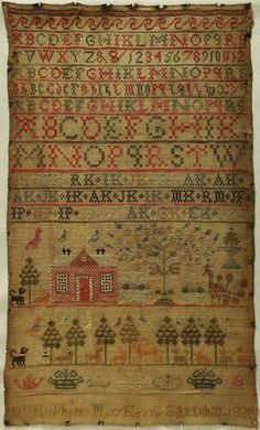 EARLY 19TH CENTURY SCOTTISH RED HOUSE & ALPHABET SAMPLER BY MARY KERR - 1820 in Antiques, Linens & Textiles (Pre-1930), Samplers | eBay