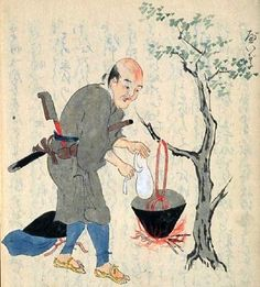 """Japanese wood block print from Zohyo Monogatari"""" (Tales of the Ashigaru), written in the middle of the 17th century."""